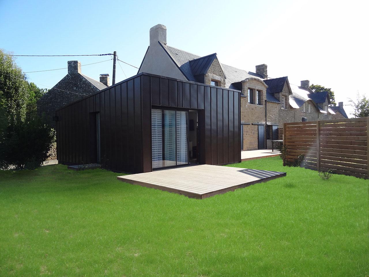 R novation long re extension bois et zinc locmariaquer for Extension maison zinc